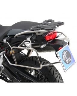 Hepco & Becker Cutout Side Carrier With Silver Xplorer Cases BMW F750GS & F850GS