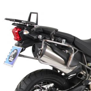 Hepco & Becker Cutout Side Carrier With Silver Xplorer Cases For Triumph Tiger 800XC, XCx, XR, XRx '15-